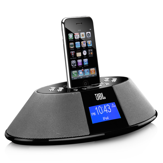 JBL On Time 200P - Black - AM/FM clock radio and loudspeaker dock for your iPod and iPhone - Hero
