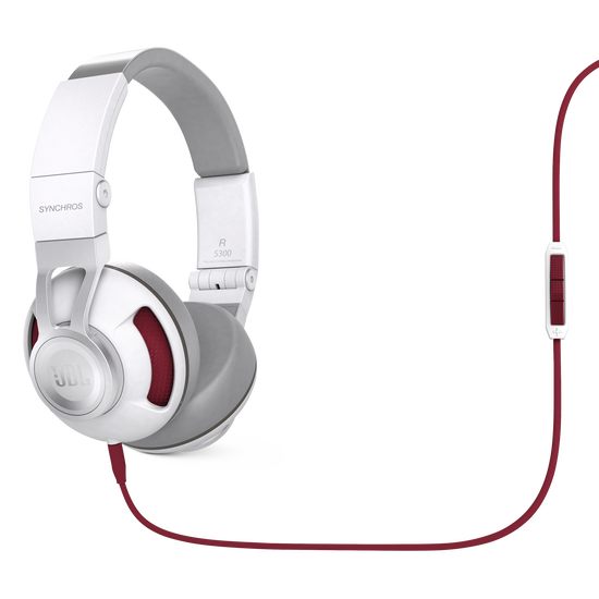 Synchros S300a - White / Red - Synchros on-ear stereo headphones - Hero