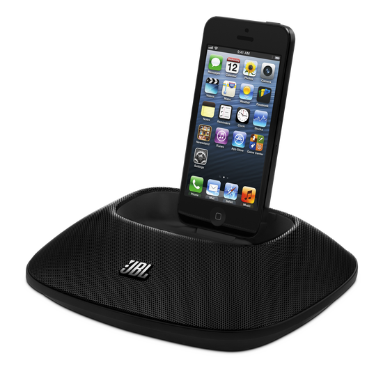 JBL OnBeat Micro - Black - High-performance AirPlay wireless loudspeaker docking station for iOS devices - Hero