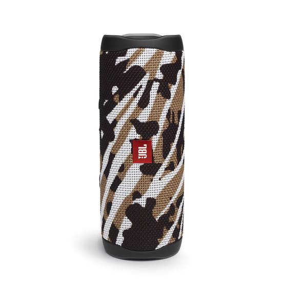 JBL FLIP 5 - BlackWhite/Brown Camo - Portable Waterproof Speaker - Hero